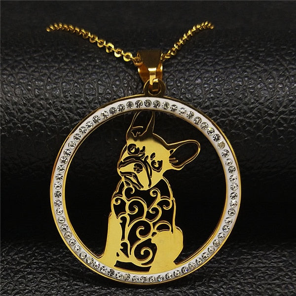Gold Colored French Bulldog Crystal Stainless Steel Women's Necklace On A Black Leather Background