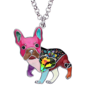 Multi Color Enamel Alloy Necklace With French Bulldog Rhinestone Crystal Pendant