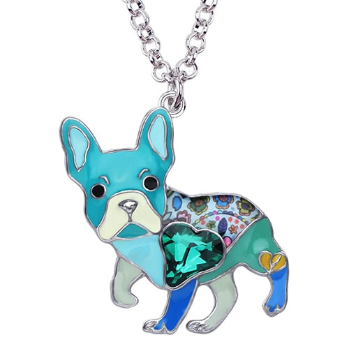 Blue Enamel Alloy Necklace With French Bulldog Rhinestone Crystal Pendant