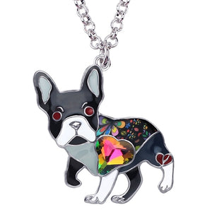 Black Enamel Alloy Necklace With French Bulldog Rhinestone Crystal Pendant