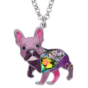 Purple Enamel Alloy Necklace With French Bulldog Rhinestone Crystal Pendant