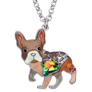 Brown Enamel Alloy Necklace With French Bulldog Rhinestone Crystal Pendant