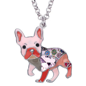 Pink Enamel Alloy Necklace With French Bulldog Rhinestone Crystal Pendant