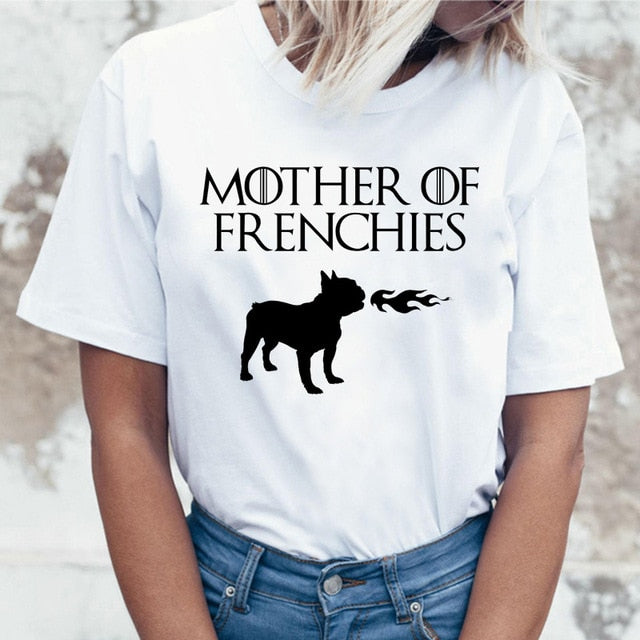 Women's white round neck short sleeve t-shirt with a fire breathing french bulldog image and the words mother of frenchies