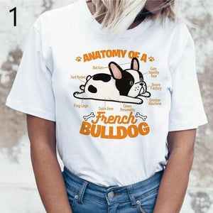 Women's white round neck short sleeve t-shirt with the anatomy of French bulldog image
