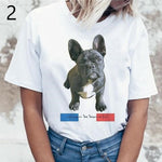 Women's white round neck short sleeve t-shirt featuring a black French bulldog and the French flag with the words ugly can be beautiful