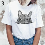 Women's white round neck short sleeve t-shirt with a cute image of a French bulldog
