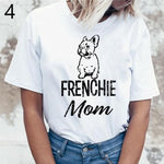 Women's round neck short sleeve t-shirt with a French bulldog image with the words frenchie mom