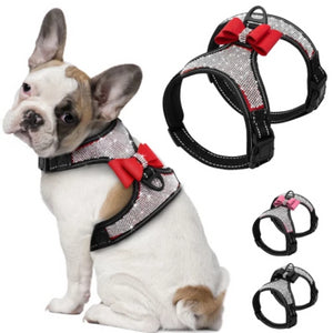 french bulldog wearing a Rhinestone Adjustable Harness With a red Bow and three harnesses in red pink and black