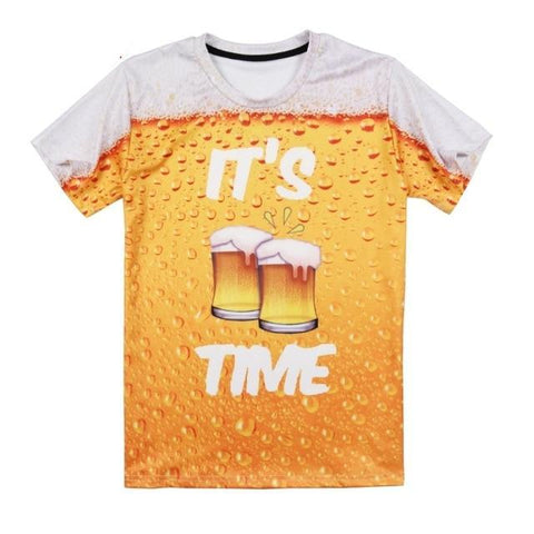 3D Beer T Shirt O-Neck