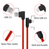 3 Pack Right Angle Micro USB Cable 6ft 90 Degree Charger Red
