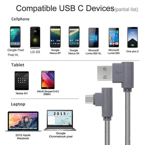 Right Angle Type C Cable 10ft 3 Pack 90 Degree USB C
