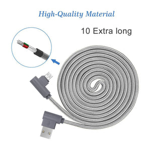 [10ft 3 Pack ]90 Degree Right Angle Micro USB Cable Grey