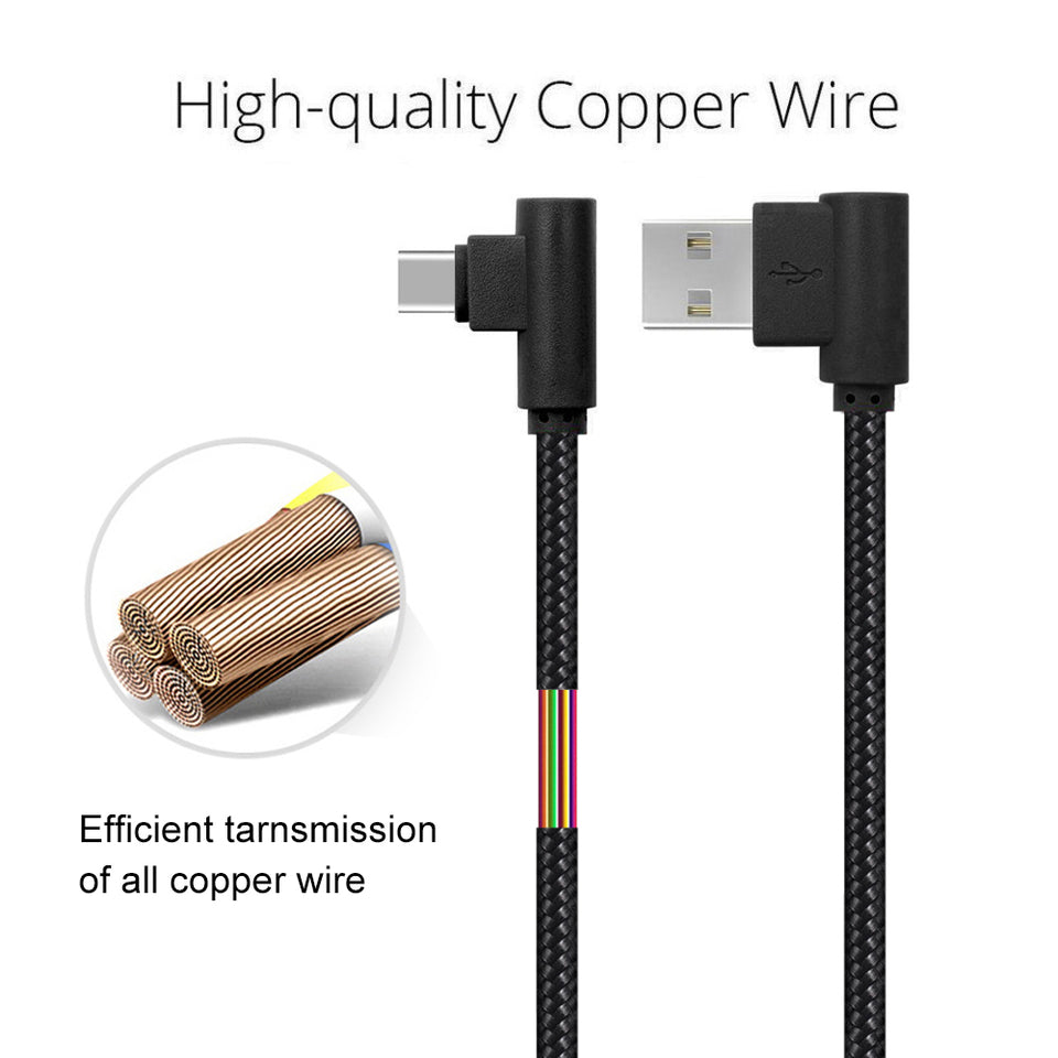 90 Degree USB C Cable 10ft 3 Pack Right Angle Fast Charge Cord