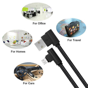 Right Angle Micro USB Cable 10ft 3 Pack android charging cords