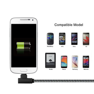 Android Charger 90 Degree USB Fast Charging Cords Grey