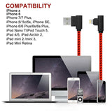 Right Angle Lightning Cable 10ft 3 Pack 90 Degree iPhone Charger