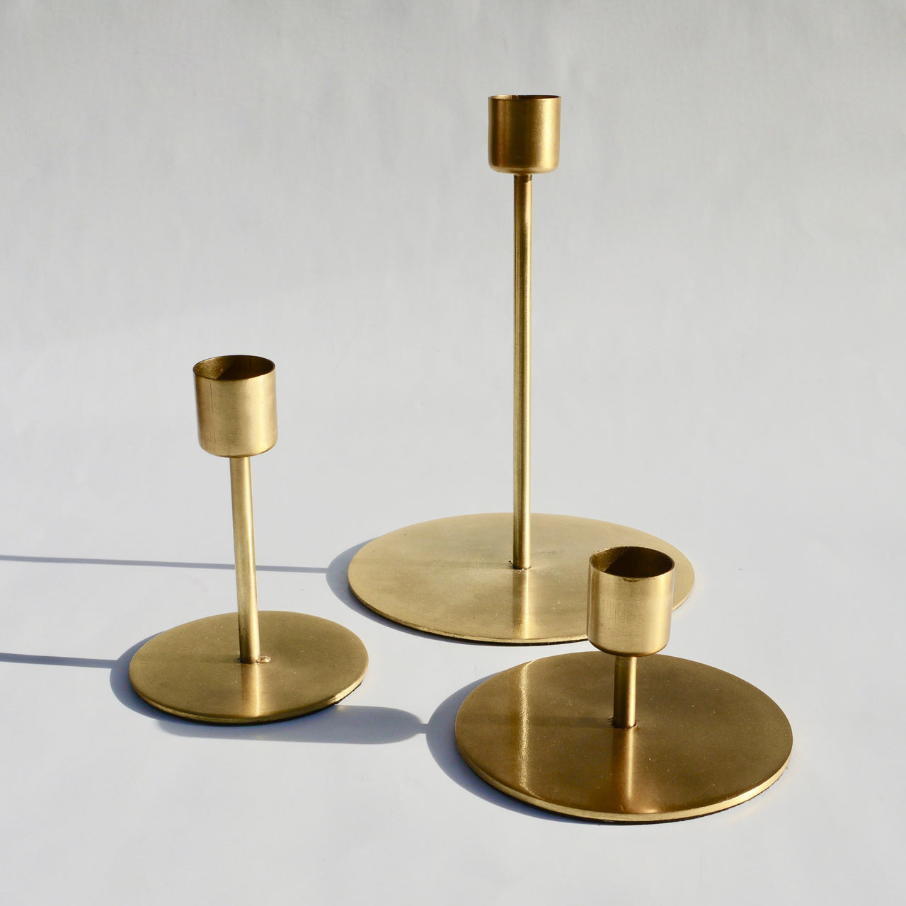 Gold candle holder set of three