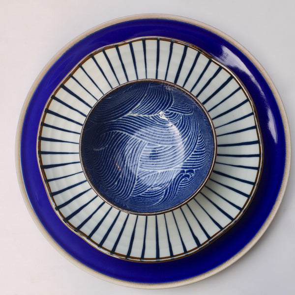 Indigo Spiral Dinnerware set of three