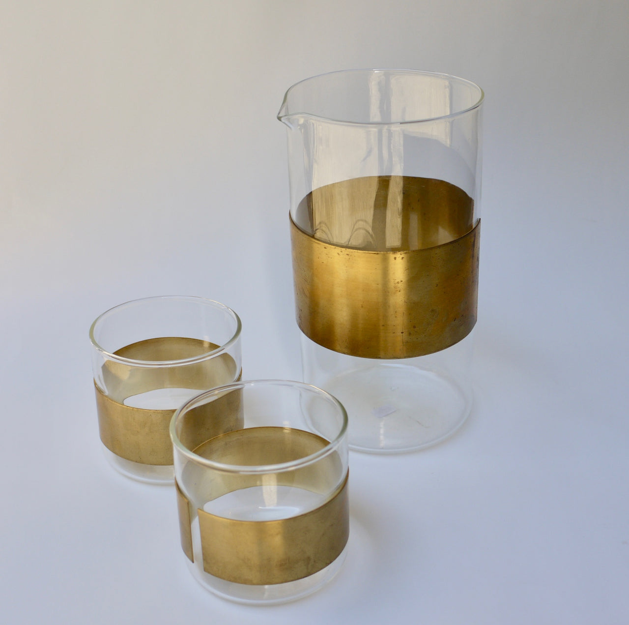 Copper Belted Carafe and Tumblers set