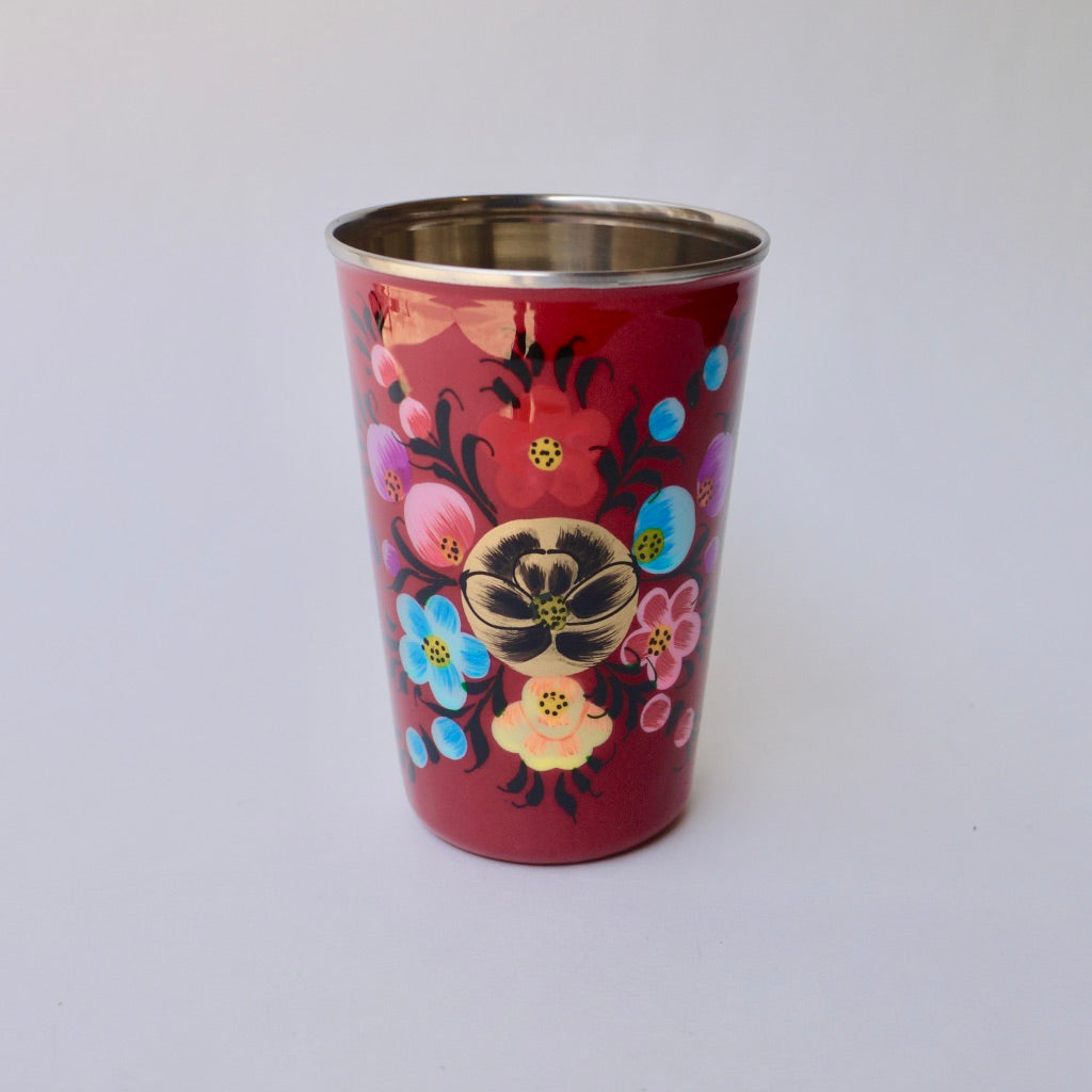 Hand painted stainless steel cups