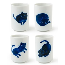 Playful Indigo Cats Cup set of four