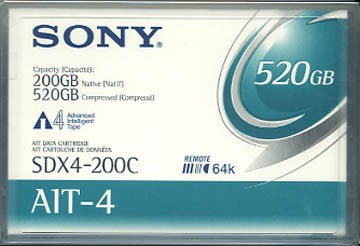Sony SDX4-200C AIT-4 Backup Tape Cartridge (Retail Pack) 200/520GB