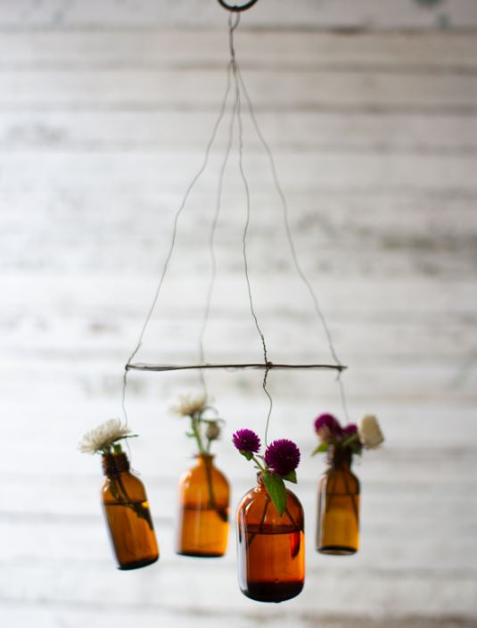 Hanging Amber Glass Vases
