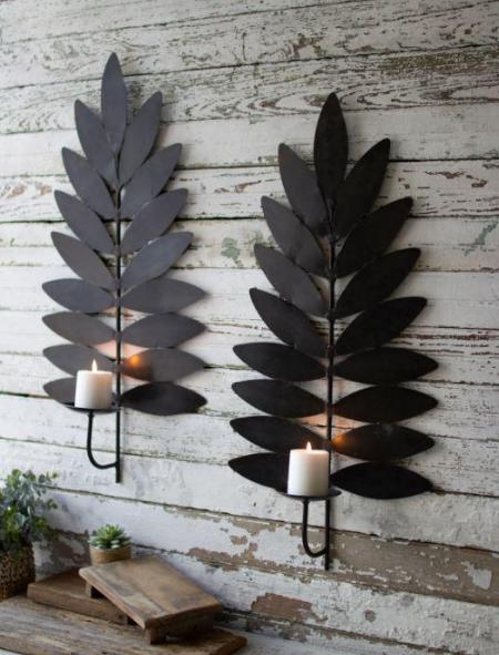 Iron Leaf Candle Sconce