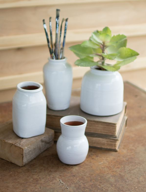 Set of 4 Matte White Ceramic Vases