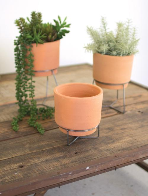 Natural Clay Pots on Metal Bases - 3 Sizes