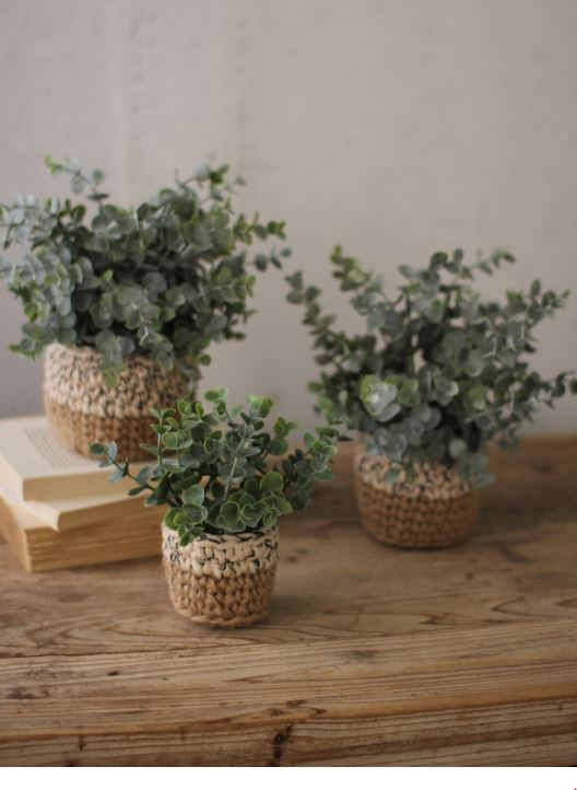 Faux Eucalyptus Plant in Woven Planters - 3 Sizes