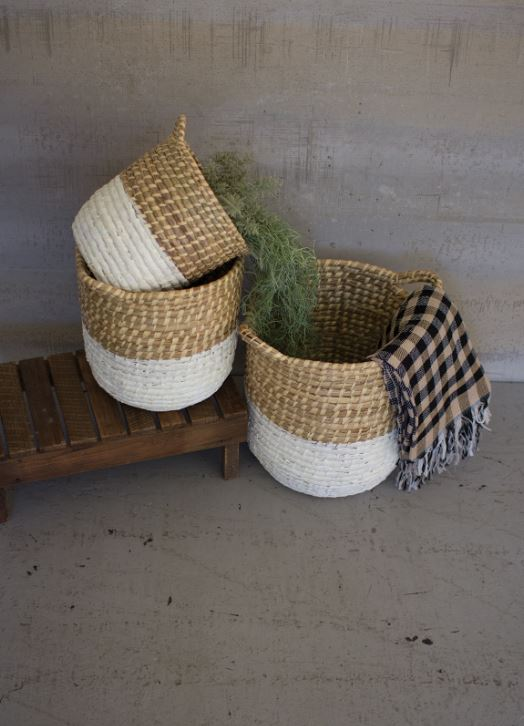 White Dipped Seagrass Hampers with Handles