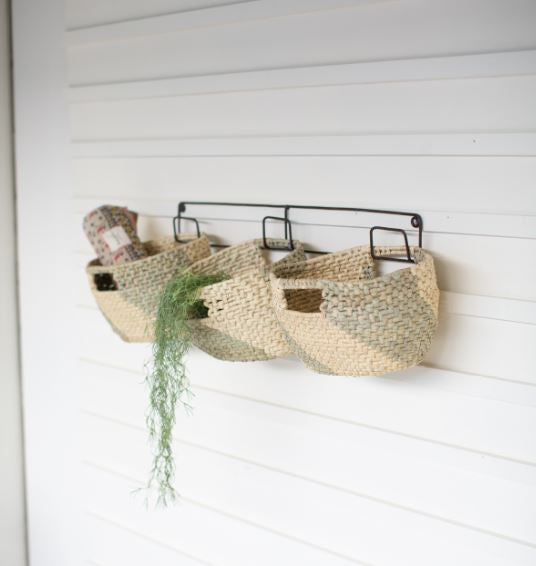 Set of 3 Hanging Woven Seagrass Baskets on Recycled Metal Frame