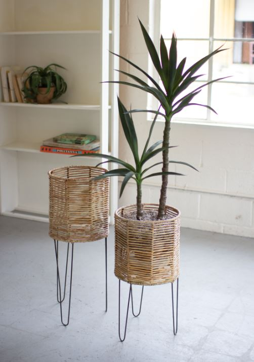 Round Seagrass Planters with Iron Bases