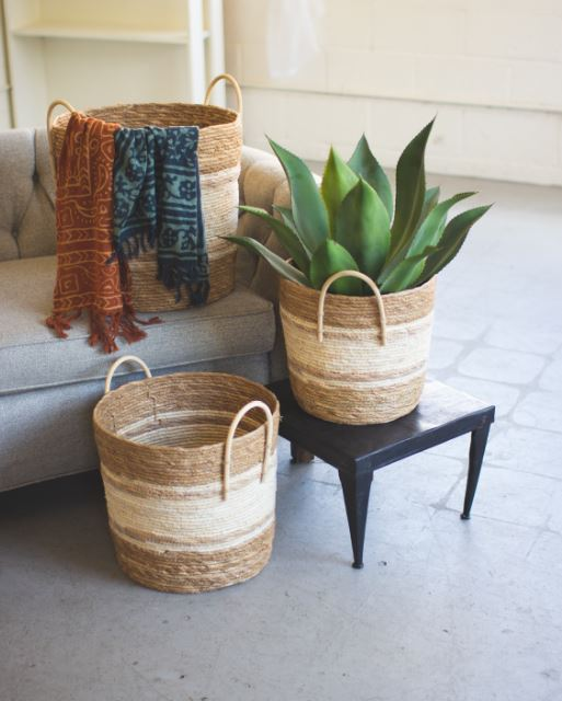 Two Toned Natural Round Woven Baskets