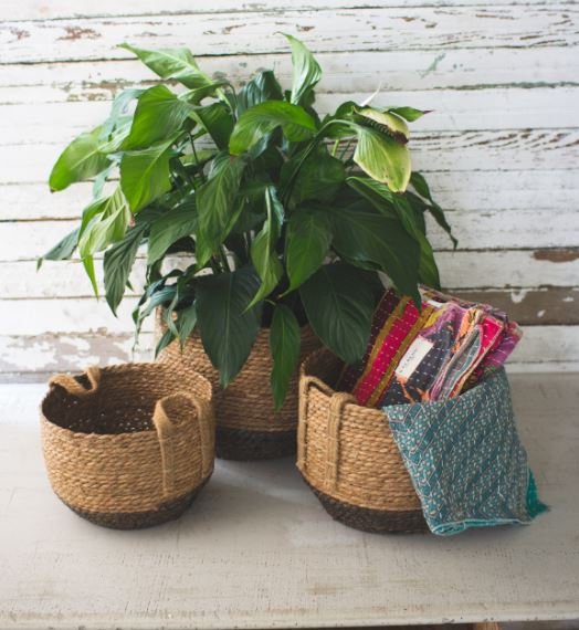 Set of 3 Round Woven Baskets with Jute Handles