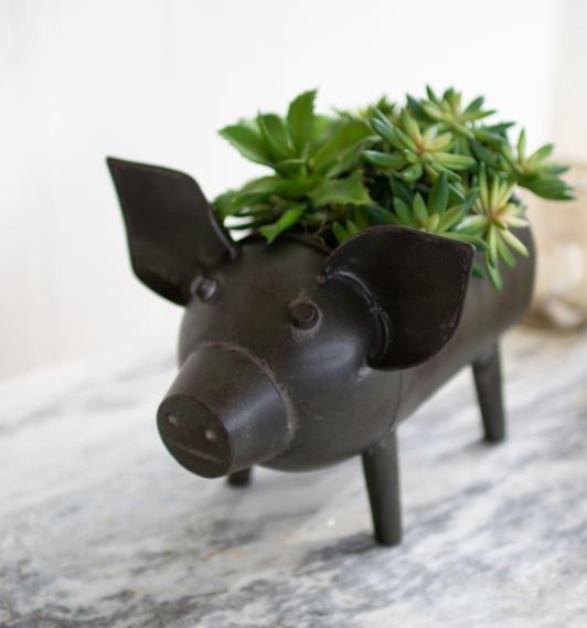 Antique Green Pig Container