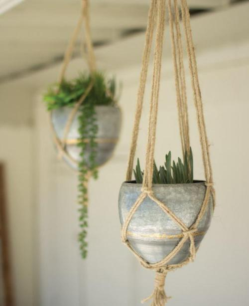 Hanging Galvanized Planters with Woven Jute Rope - 2 Sizes