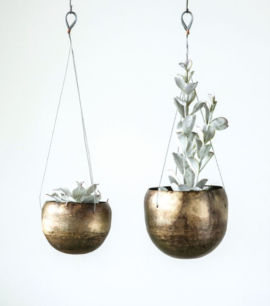 Antique Brass Metal Hanging Planters - 2 Sizes