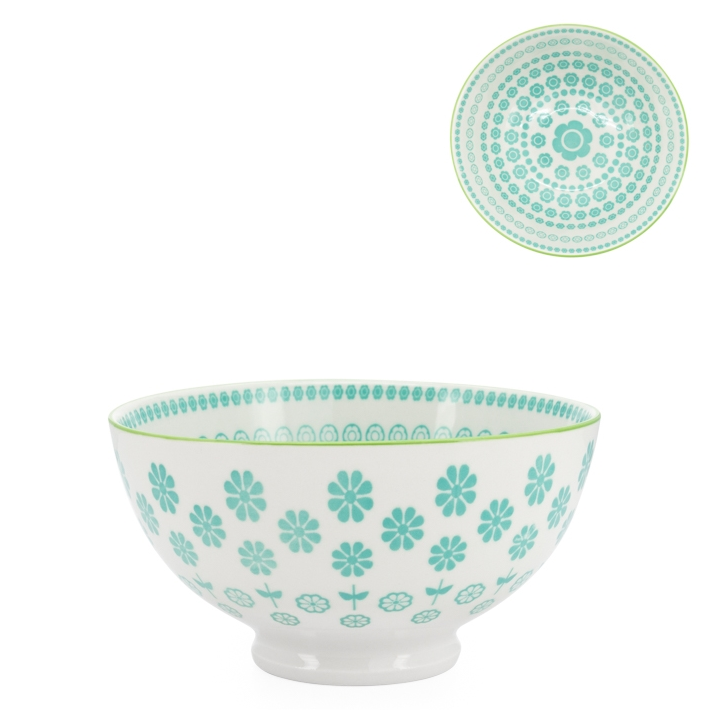 Kiri Porcelain Turquoise Daisy Bowl - 3 Sizes