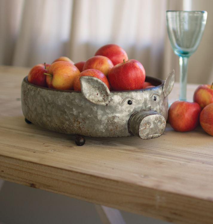 Galvanized Metal Pig Bowl