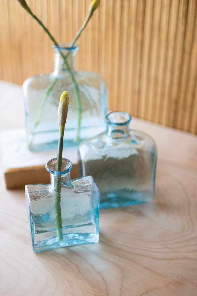 Recycled Square Glass Vases