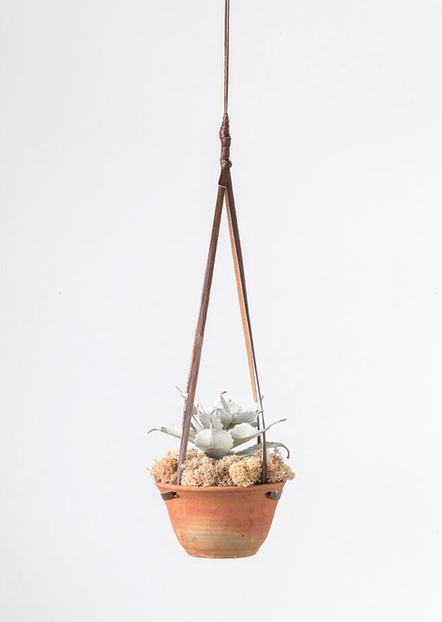 Hanging Terra-Cotta Planter with Leather Hanger