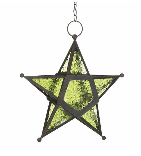 "10"" Moroccan Star Glass Lantern - 6 Colors"