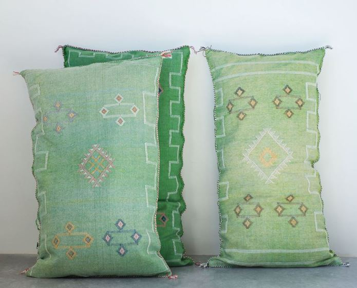 Hand-Loomed Cactus Silk & Cotton Pillow - 2 Colors