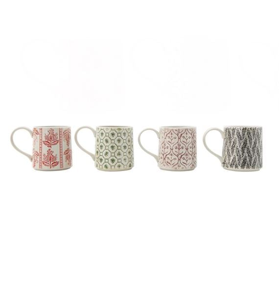 Set of 4 Hand-Stamped Stoneware Mug with Embossed Patterns
