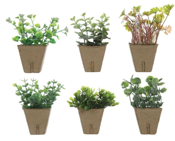 Set of 6 Faux Plants in Paper Pots