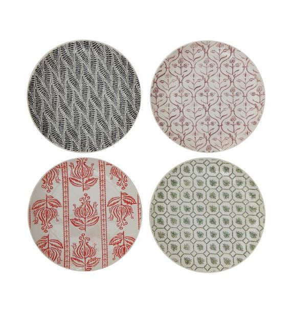 "Set of 4 Hand-Stamped 8"" Stoneware Plates with Embossed Patterns"