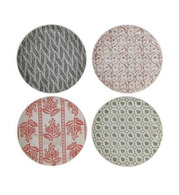 "Hand-Stamped 8"" Stoneware Plates with Embossed Patterns"